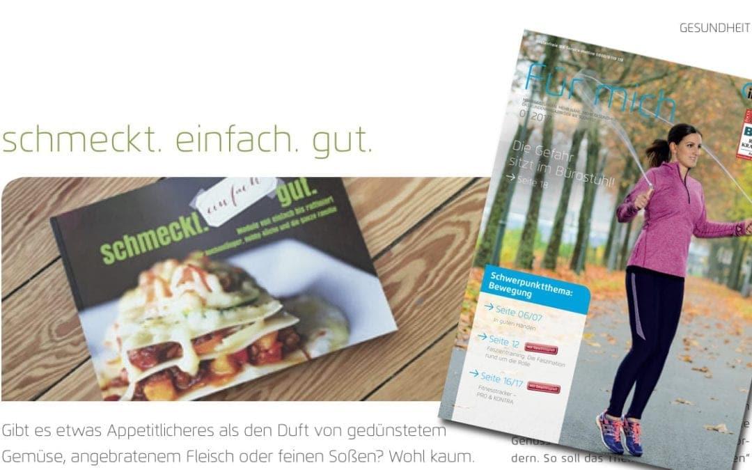 Vorstellung des Kochbuchs im Kundenmagazin der IKK Südwest